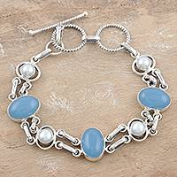 Pearl and chalcedony link bracelet, 'Jaipur Sky' - Chalcedony and Pearl Handmade Sterling Silver Link Bracelet