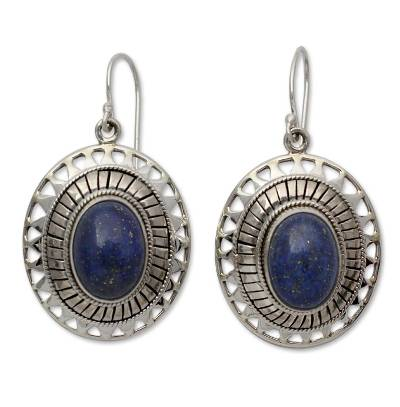 Lapis Lazuli Earrings from India Silver Jewelry Collection