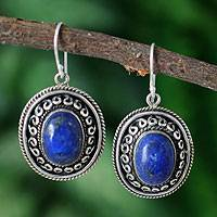 Lapis lazuli dangle earrings, 'Tradition' - Lapis lazuli dangle earrings