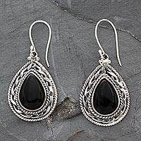 Onyx dangle earrings, 'Palace Memories' - Handmade Sterling Silver and Onyx Indian Earrings