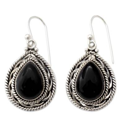 Handmade Sterling Silver and Onyx Indian Earrings