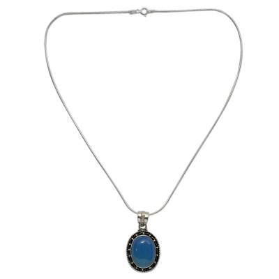 Sterling Silver and Chalcedony Pendant Necklace