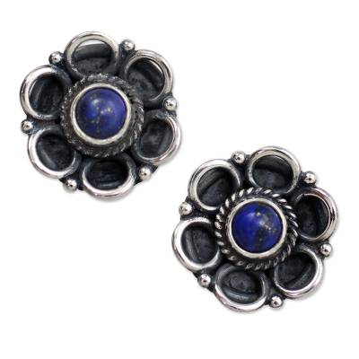 Indian Floral Sterling Silver Button Lapis Lazuli Earrings