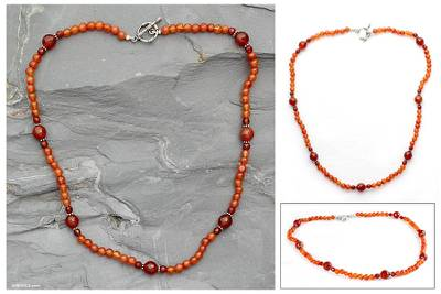 Carnelian strand necklace, 'Kerala Warmth' - Unique Beaded Carnelian Necklace