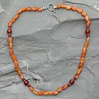 Carnelian strand necklace, 'Rajasthan Summer' - Carnelian strand necklace