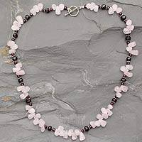 Garnet and rose quartz strand necklace, 'Love's Serenade' - Garnet and rose quartz strand necklace