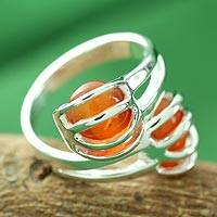 Sterling silver wrap ring, 'Scarlet Love Attraction'