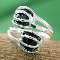 Onyx wrap ring, 'Love Attracts' - Sterling Silver and Black Onyx Ring Modern Jewelry