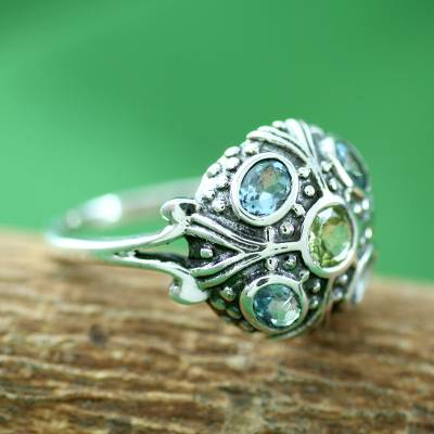non tarnish silver necklace heart - Blue Topaz and Peridot Indian Sterling Silver Ring