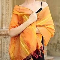 Cotton and silk shawl, 'Madhya Pradesh Sunset' - Artisan Crafted Shawl Cotton Silk Wrap