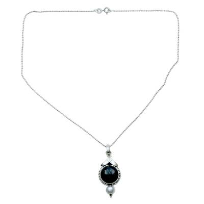Lapis Lazuli and Pearl Pendant Necklace