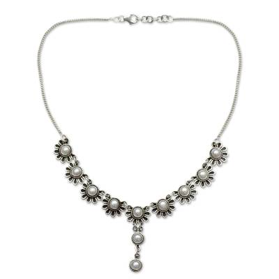 Cultured pearl flower necklace, 'Pristine Blossom' - Pearl and Sterling Silver Y Necklace Floral Jewelry