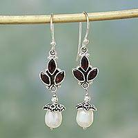Pearl and garnet chandelier earrings, 'India Passionflower' - Pearl and Garnet Dangle Earrings