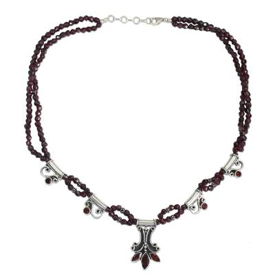 Handcrafted Sterling Silver and Garnet Indian Necklace