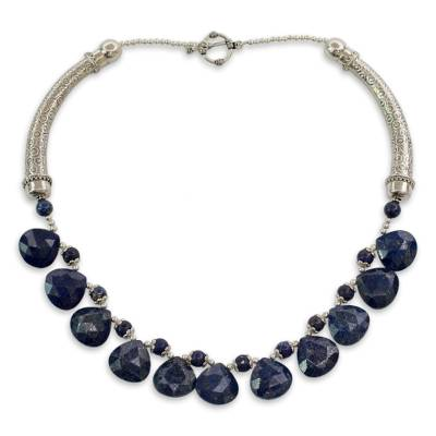 Lapis Lazuli Necklace on Sterling Silver Indian Jewelry