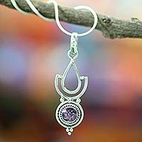 Amethyst pendant necklace, 'Orissa Mystique' - Amethyst Pendant on Sterling Silver Necklace from India