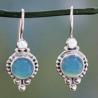 Chalcedony dangle earrings, 'Ocean Sky' - Classic India Jewelry Silver Earrings with Chalcedony