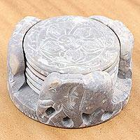 Marble coasters, 'Elephant Rose' (set for 6) - Unique Elephant and Flower Marble Coaster Set