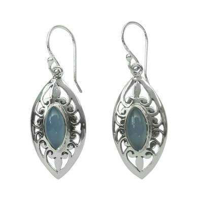 Blue Chalcedony and Silver Earrings