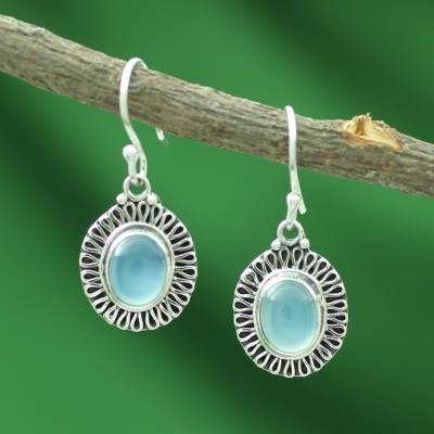 Chalcedony dangle earrings, 'Blue Fortune Sun' - Sterling Silver and Chalcedony Earrings Artisan Jewelry