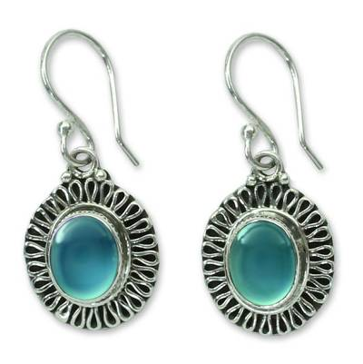 Sterling Silver and Chalcedony Earrings Artisan Jewelry