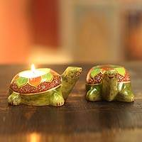 Soapstone candleholders, 'Green Lotus Turtle' (pair)