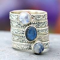 Rainbow moonstone and labradorite stacking ring, 'Love's Imagination' (set of 5)