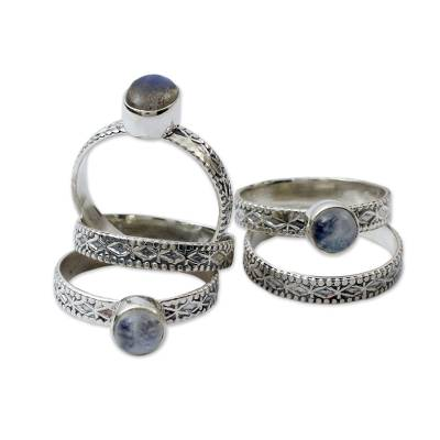 Rainbow Moonstone and Labradorite Stacking Rings (Set of 5)