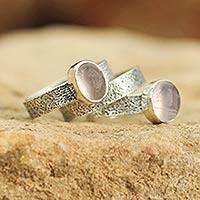 Rose quartz stacking rings, 'Flame of Love' (set of 3) - Rose quartz stacking rings (Set of 3)