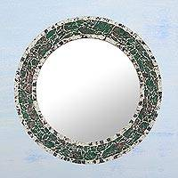 Mosaic glass mirror, 'Iridescent India' - Artisan Crafted Mosaic Glass Mirror