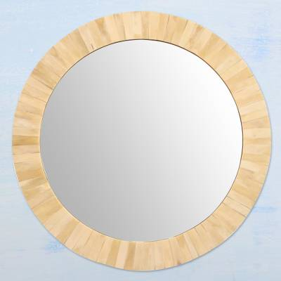 Bone mirror, 'Harvest Moon' - Handcrafted Round Carved Bone Mirror