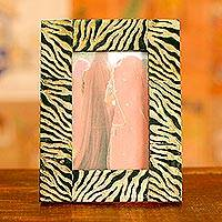 Horn photo frame, 'Tiger' (4x6) - Bull Horn Photo Frame Handmade in India (4x6)