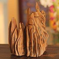 Reclaimed wood sculpture, 'In the Woods' - Hand Carved Abstract Sculpture from India