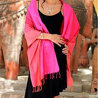 Silk shawl, 'Indian Rainbow' - Artisan Crafted Silk Shawl in Pink Red and Fuchsia