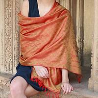 Banarasi silk shawl, 'Saffron Sunset' - Varanasi Silk Shawl Handmade Orange Wrap