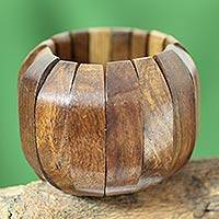 Wood stretch bracelet, 'Delhi Casual' - Handcrafted Wood Stretch Bracelet from India Jewelry