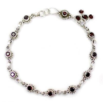 Indian Ankle Jewelry with Garnet and Sterling Silver
