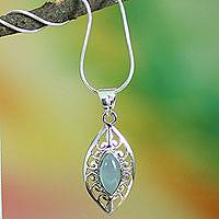 Chalcedony pendant necklace, 'Mumbai Sky' - Chalcedony Necklace with Silver Sterling Indian Jewelry