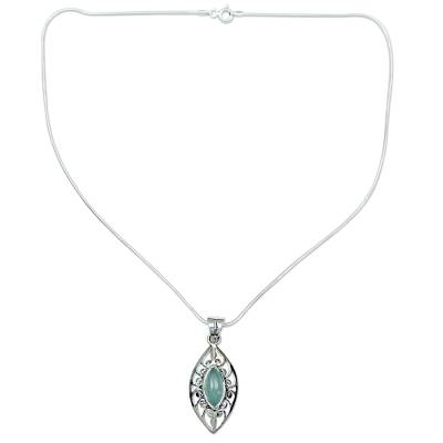 Chalcedony Necklace with Silver Sterling Indian Jewelry