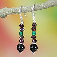 Garnet and onyx dangle earrings, 'Colors of India' - Garnet and onyx dangle earrings