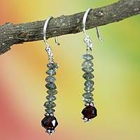 Labradorite and garnet dangle earrings, 'Evening Mist' - Labradorite and garnet dangle earrings
