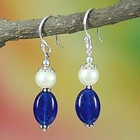 Pearl dangle earrings, 'Sky Kisses' - Pearl dangle earrings