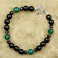 Onyx and garnet beaded bracelet, 'Colors of India' - Onyx and garnet beaded bracelet