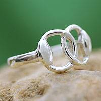 Sterling silver band ring, 'Together' - Fair Trade Modern Sterling Silver Band Ring