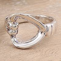 Sterling silver heart ring, 'Luminous Love' - Handcrafted Heart Jewelry Sterling Silver Band Ring