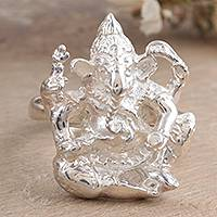 Sterling silver cocktail ring, 'Mighty Ganesha' - Sterling silver cocktail ring