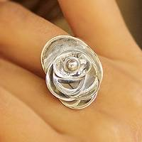 Sterling silver flower ring, 'Lotus Majesty' - Handmade Modern Sterling Silver Cocktail Ring from India