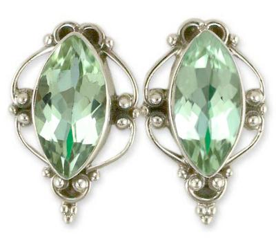 Prasiolite button earrings