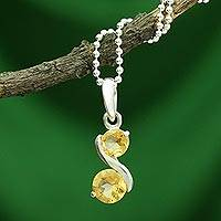 Citrine pendant necklace, 'Twin Souls' - Citrine Pendant on Sterling Silver Necklace from India