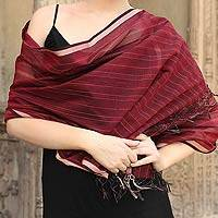 Cotton and silk shawl, 'Maheshwari Wine' - Indian Silk Cotton Blend Patterned Shawl